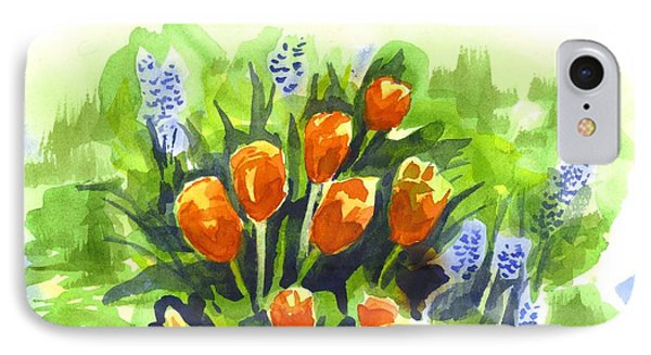Tulips With Blue Grape Hyacinths Explosion IPhone Case by Kip DeVore