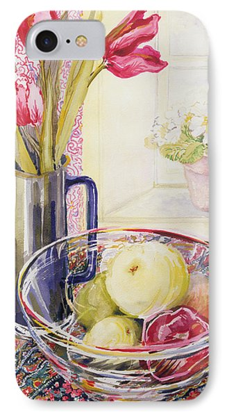 Tulips With Fruit In A Glass Bowl  Phone Case by Joan Thewsey