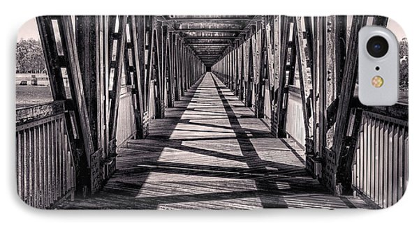 Tulsa Pedestrian Bridge In Black And White IPhone Case by Tamyra Ayles
