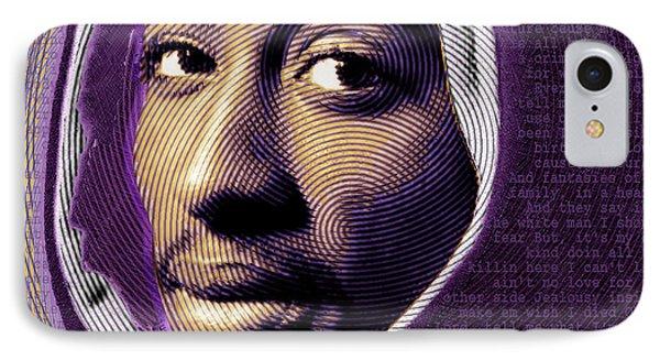 Tupac Shakur And Lyrics Phone Case by Tony Rubino