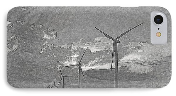 IPhone Case featuring the photograph Turbines In Pencil by Jim McCain