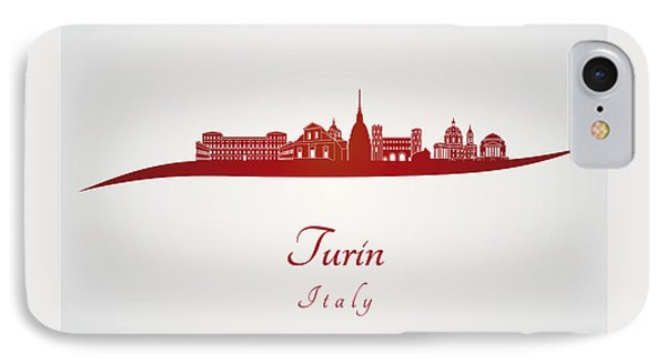 Turin Skyline In Red IPhone Case by Pablo Romero
