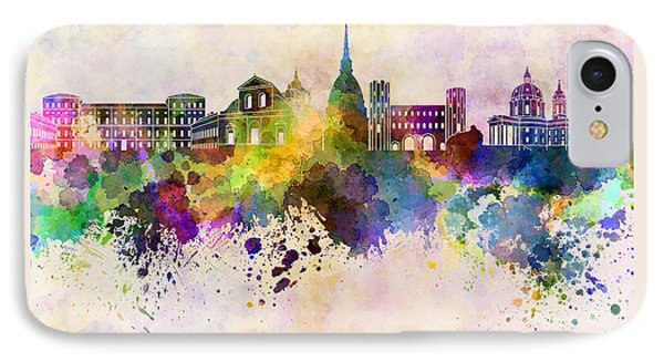 Turin Skyline In Watercolor Background IPhone Case by Pablo Romero