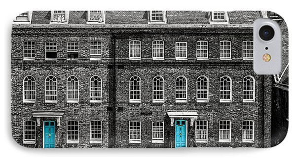 Turquoise Doors At Tower Of London's Old Hospital Block IPhone Case by James Udall