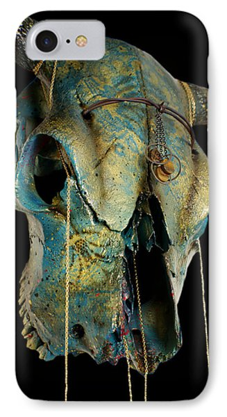 Turquoise And Gold Illuminating Steer Skull IPhone Case by Mayhem Mediums
