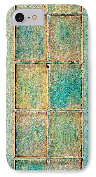 Turquoise And Pale Yellow Panel Door IPhone Case by Asha Carolyn Young
