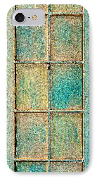 IPhone Case featuring the painting Turquoise And Pale Yellow Panel Door by Asha Carolyn Young