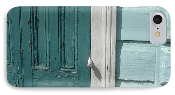 Turquoise Door IPhone Case by Valerie Reeves