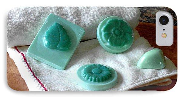 Turquoise Flower And Leaf Soap IPhone Case by Anastasiya Malakhova