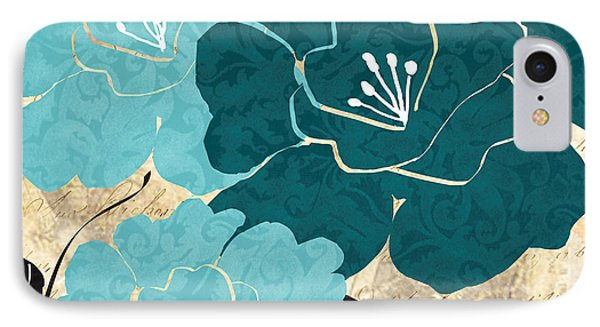 Turquoise Flowers IPhone Case by Lourry Legarde