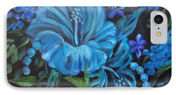 Turquoise Hibiscus IPhone Case by Jenny Lee