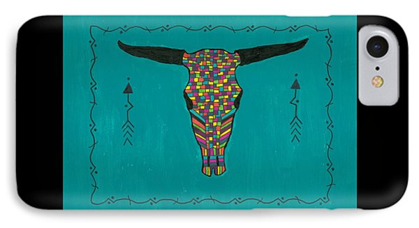 Turquoise Longhorn Skull IPhone Case