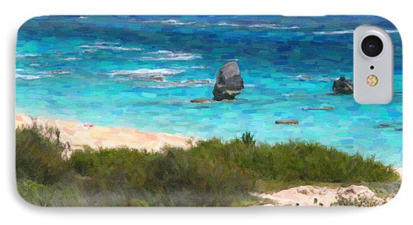 IPhone Case featuring the photograph Turquoise Ocean And Pink Beach by Verena Matthew