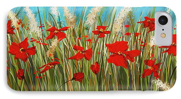 Turquoise Poppies - Red And Turquoise Art IPhone Case by Lourry Legarde