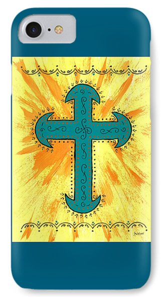 IPhone Case featuring the painting Turquoise Southwestern Cross by Susie Weber