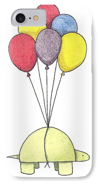Turtle Balloon IPhone Case by Christy Beckwith