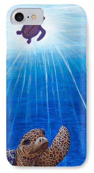 IPhone Case featuring the painting Turtle Painting Bomber Triptych 1 by Rebecca Parker