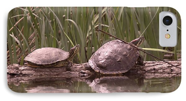 Turtle Struggling To Rest On A Log With Its Buddy Phone Case by Jeff Swan