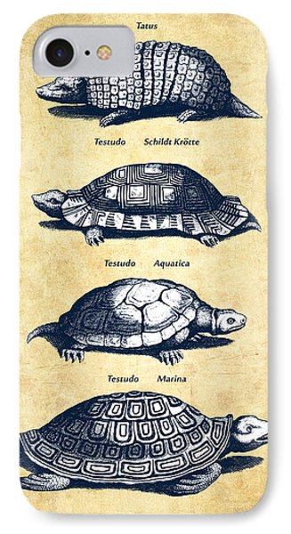 Turtles - Historiae Naturalis - 1657 - Vintage IPhone Case by Aged Pixel