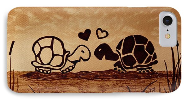 Turtles Love Coffee Painting IPhone Case