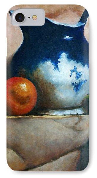 Tuscan Blue Pitcher Still Life Phone Case by Melinda Saminski