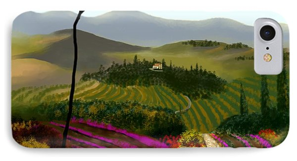 IPhone Case featuring the painting Tuscan Countryside by Larry Cirigliano