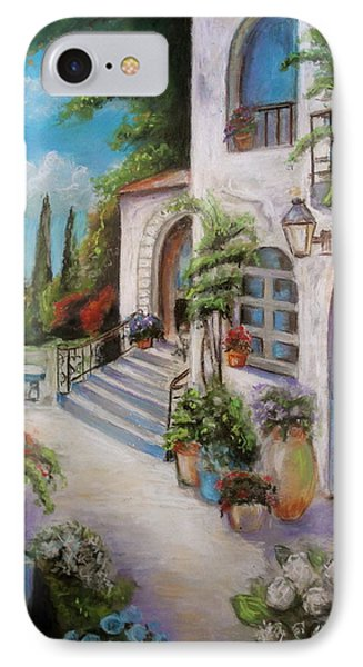 IPhone Case featuring the painting Tuscan Courtyard by Melinda Saminski