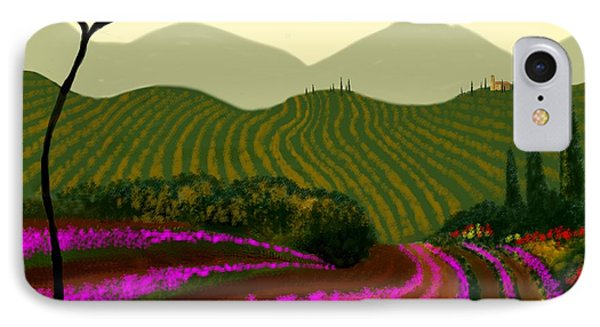 IPhone Case featuring the painting Tuscan Fields Of Color by Larry Cirigliano