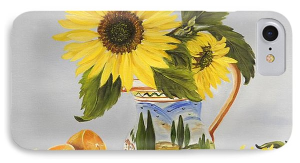 Tuscan Pitcher And Sunflowers IPhone Case by Carol Sweetwood