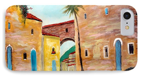 IPhone Case featuring the painting Tuscan Street by Larry Cirigliano