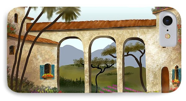 IPhone Case featuring the painting Tuscan Villa Of Beauty  by Larry Cirigliano
