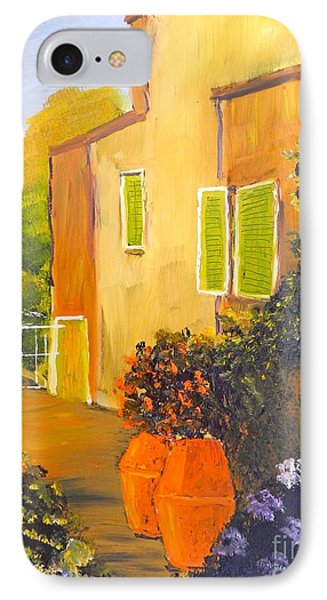 IPhone Case featuring the painting Tuscany Courtyard by Pamela  Meredith