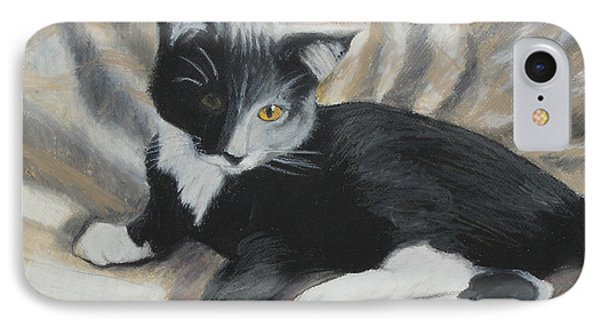 IPhone Case featuring the painting Tuxedo Kitten by Jeanne Fischer