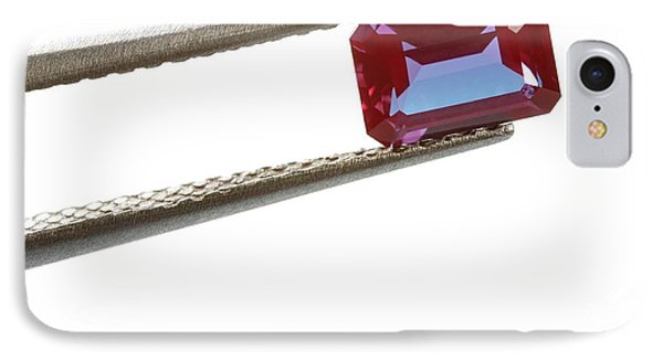 Tweezers Holding Alexandrite Gemstone IPhone Case by Science Photo Library