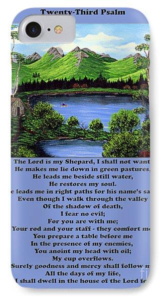 Twenty-third Psalm With Twin Ponds Blue Phone Case by Barbara Griffin
