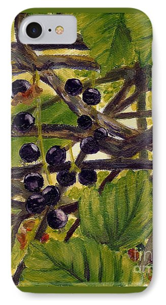 IPhone Case featuring the painting Twigs Leaves And Wild Berries by Jingfen Hwu