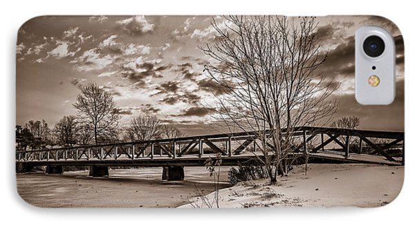 Twilight Bridge Over An Icy Pond - Bw IPhone Case by Chris Bordeleau