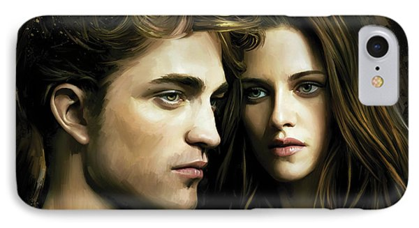 IPhone Case featuring the painting Twilight  Kristen Stewart And Robert Pattinson Artwork 4 by Sheraz A