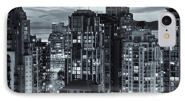 IPhone Case featuring the photograph Twilight On Cityscape Of Vancouver Overlooking English Bay - Greeting Card by Amyn Nasser