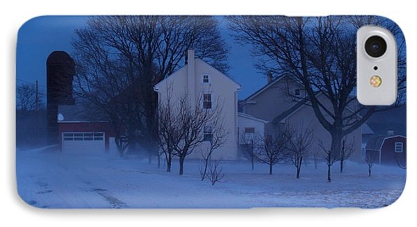 Twilight Snow On Bauman Road Phone Case by Anna Lisa Yoder