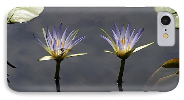 Twin Blue Egyptian Lotus Waterlilies And Dragonfly Phone Case by Byron Varvarigos