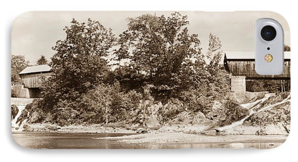 Twin Bridges North Hartland Vermont Sepia IPhone Case by Edward Fielding
