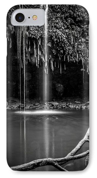 Twin Falls Hana Highway Maui Hawaii Black And White IPhone Case by Edward Fielding