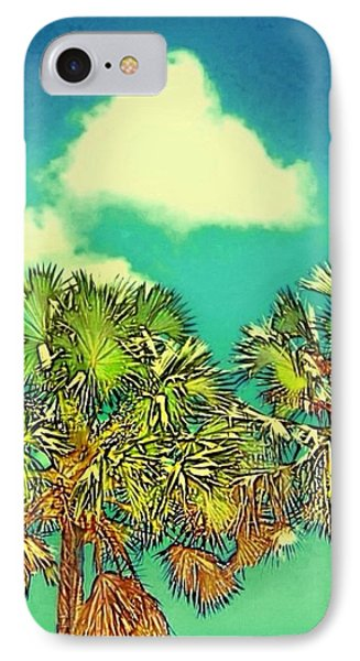 Twin Palms With Aqua Sky - Vertical IPhone Case by Lyn Voytershark