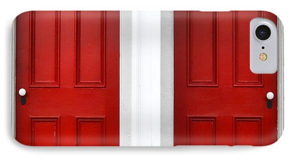 Twin Red Doors Phone Case by Olivier Le Queinec