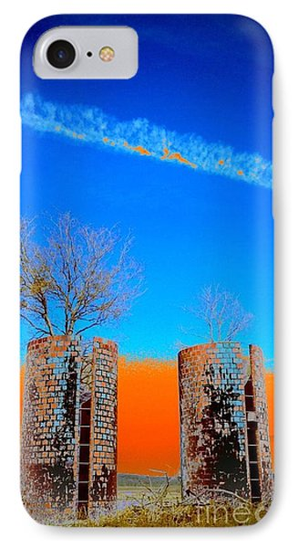 IPhone Case featuring the photograph Twin Silos 2 by Karen Newell