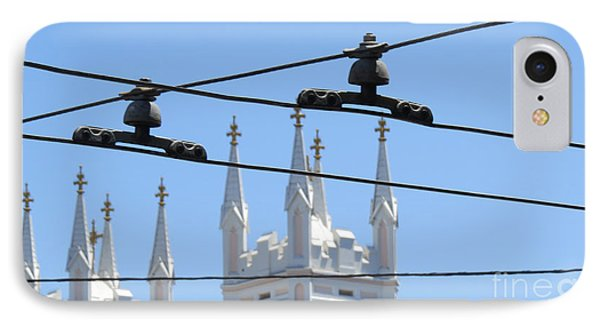 Twin Spires And Trolley Lines IPhone Case by Mary Mikawoz