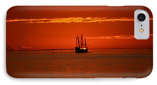 IPhone Case featuring the photograph Two 3-masted Schooners Sail Off Into The Santa Rosa Sound Sunset by Jeff at JSJ Photography
