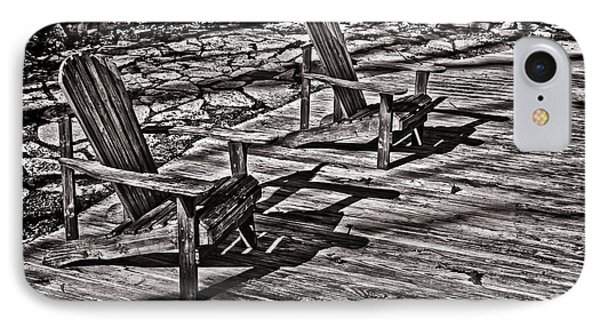 IPhone Case featuring the photograph Two Adirondack Chairs In B/w by Greg Jackson
