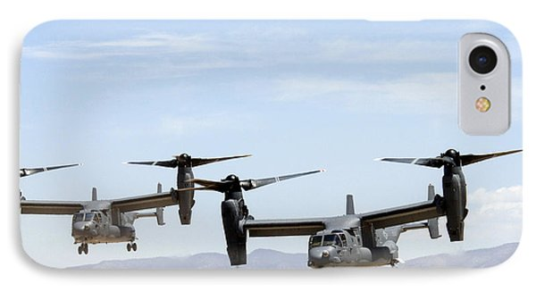 Two Air Force Cv-22 Ospreys IPhone Case by Russell Scalf - L Brown